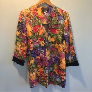 Vintage | Bright Floral Cuffed Jacket